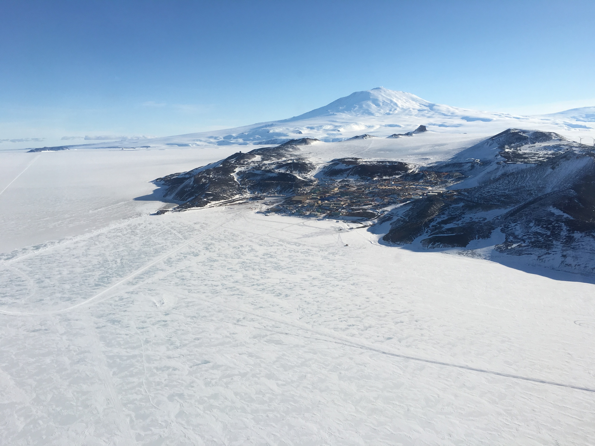 McMurdo Station viewed from the helo as we flew out to New Harbor.