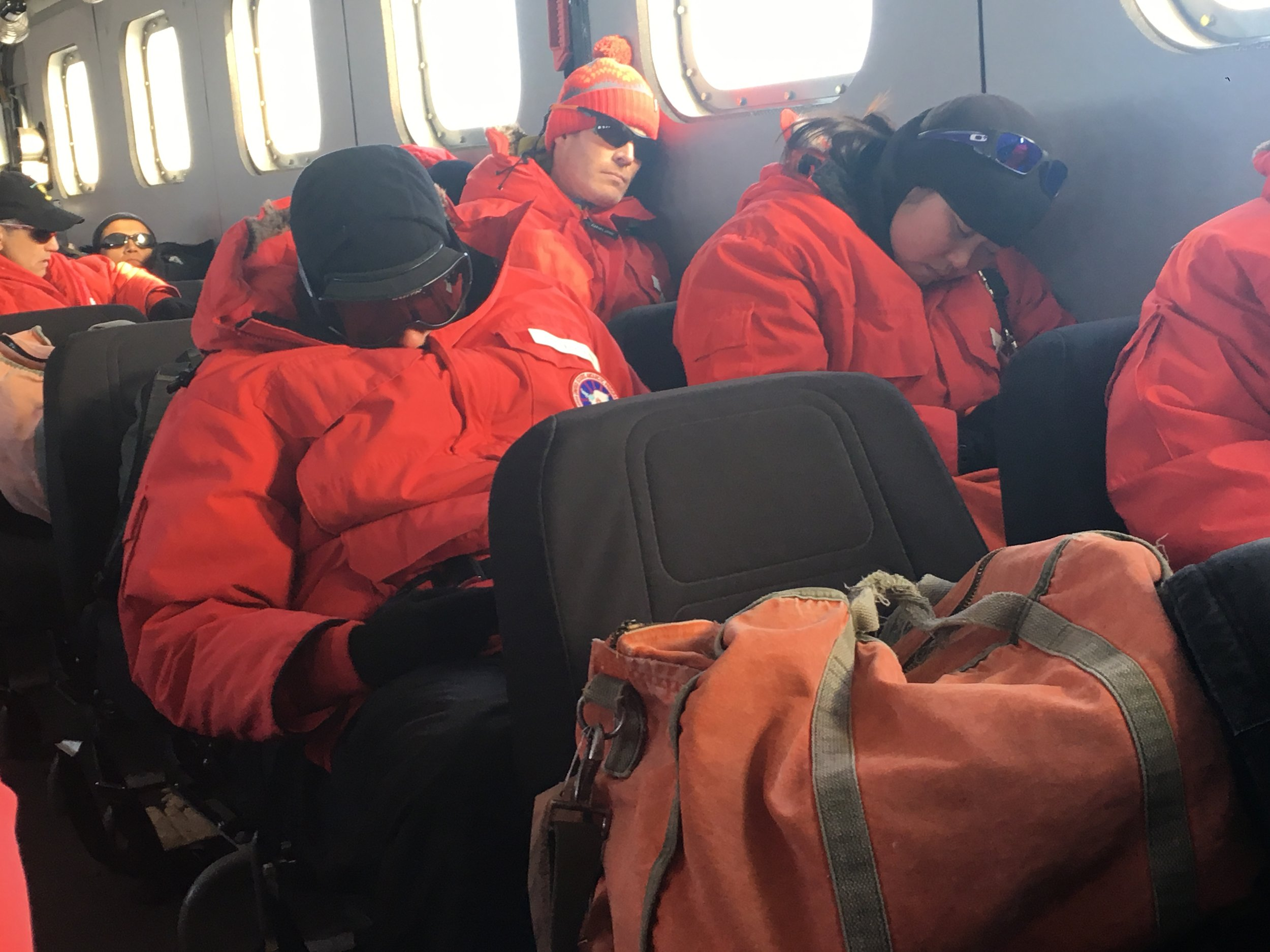 Caitlin and Steve getting some shuteye in the Kress ride from the airfield to McMurdo Station, in preparation for a grueling season!