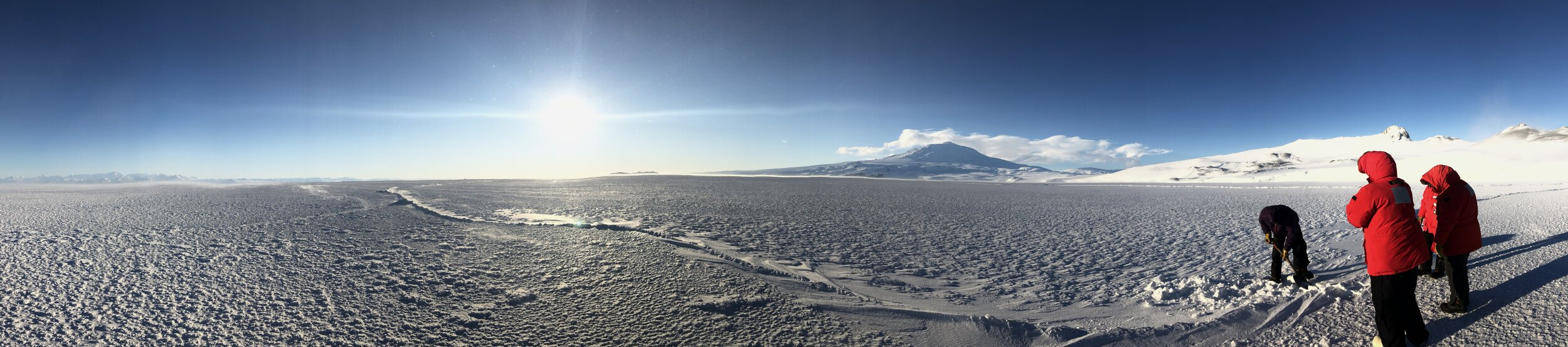 sea ice training for the new team members!  Mt. Erebus, the southernmost active volcano in the world, looms in the distance
