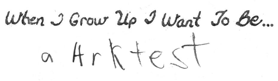 The actual scribble from me at age 5.