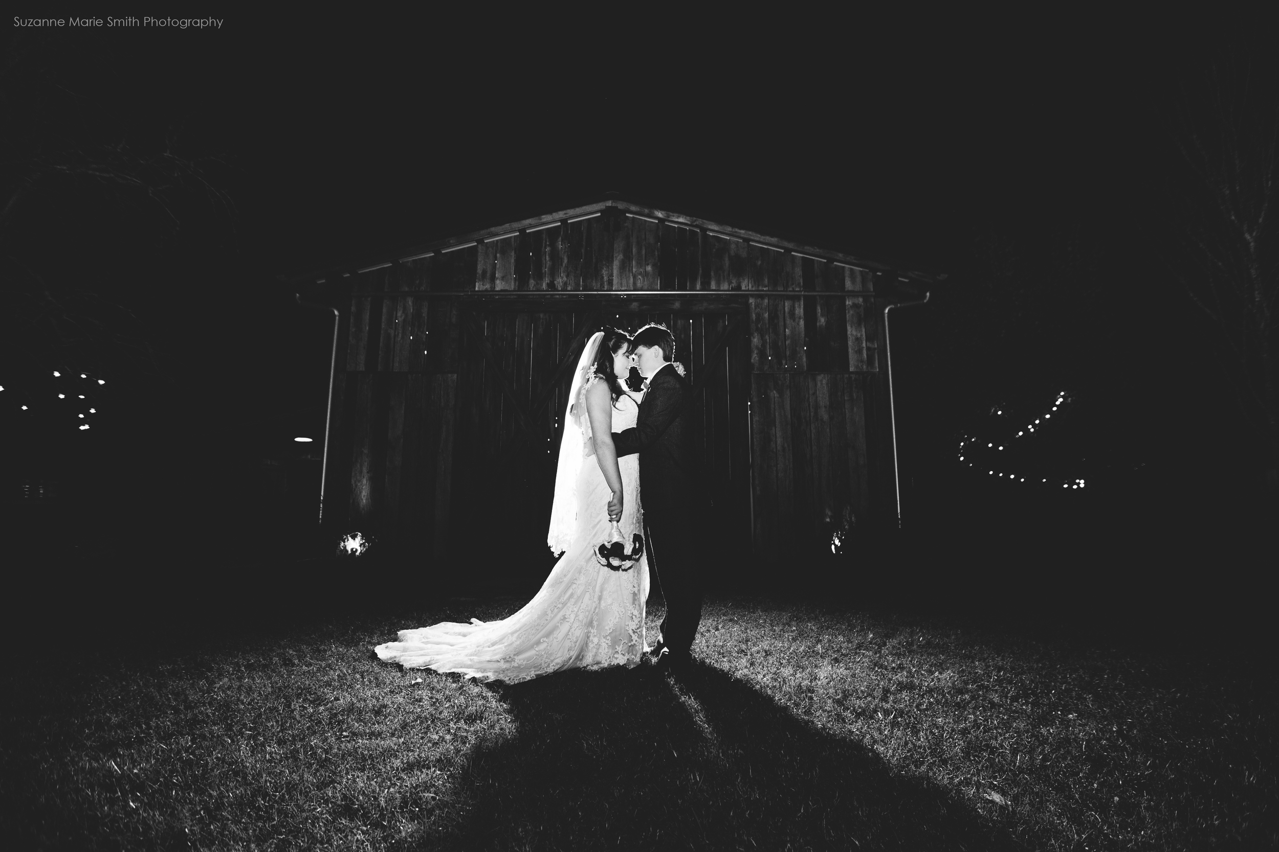 A night portrait outside the barn