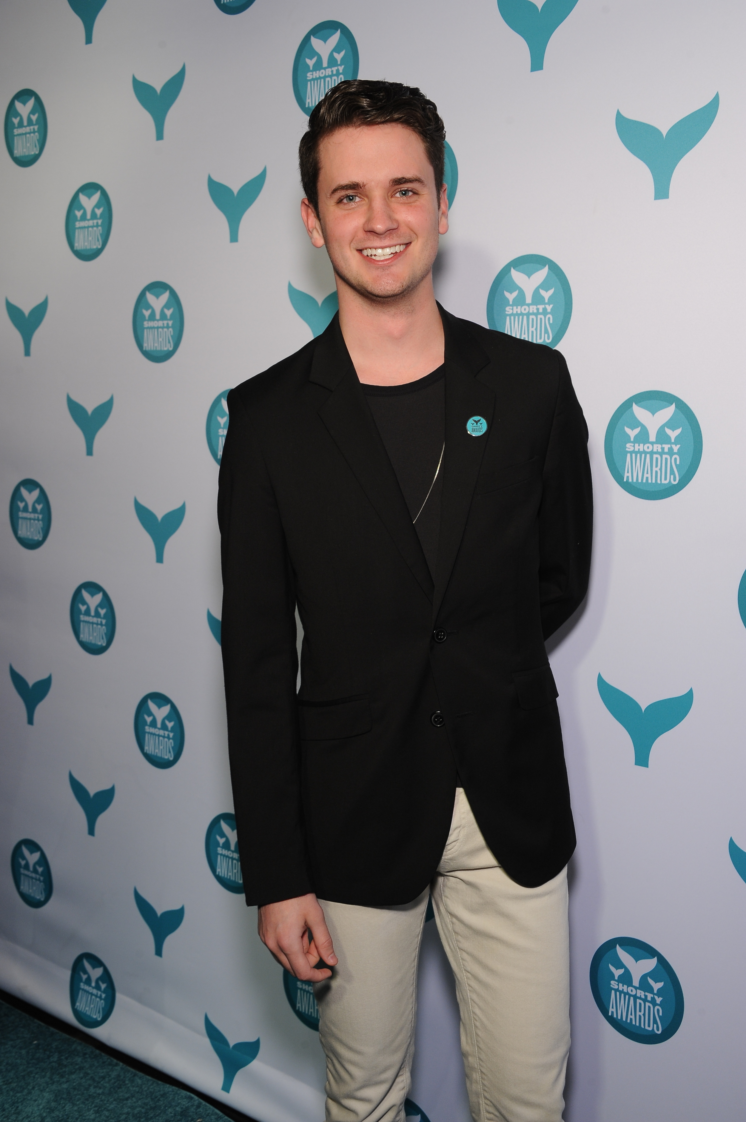On the blue carpet at the 2015 Shorty Awards