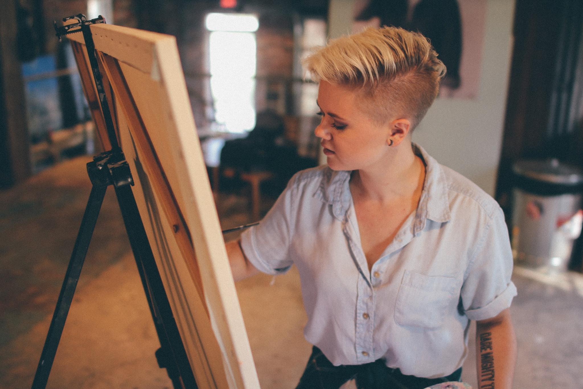 The beautiful lady herself, Emily Arwood, creating magic in her studio.