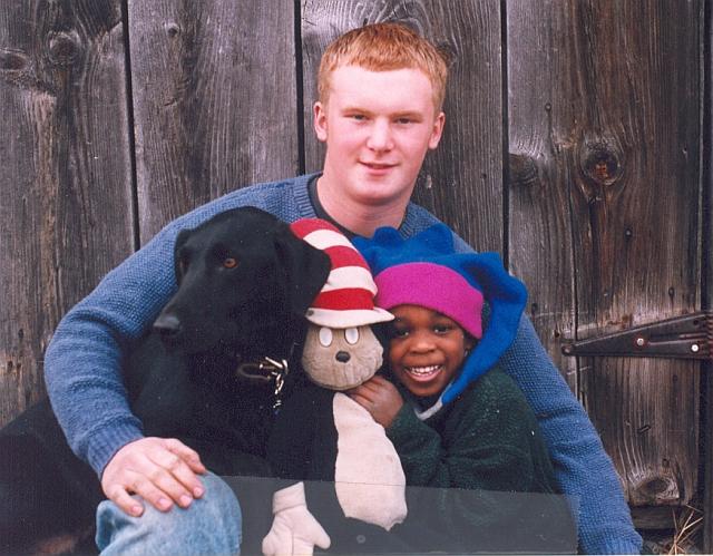 Noah, Tate and their dog bingo