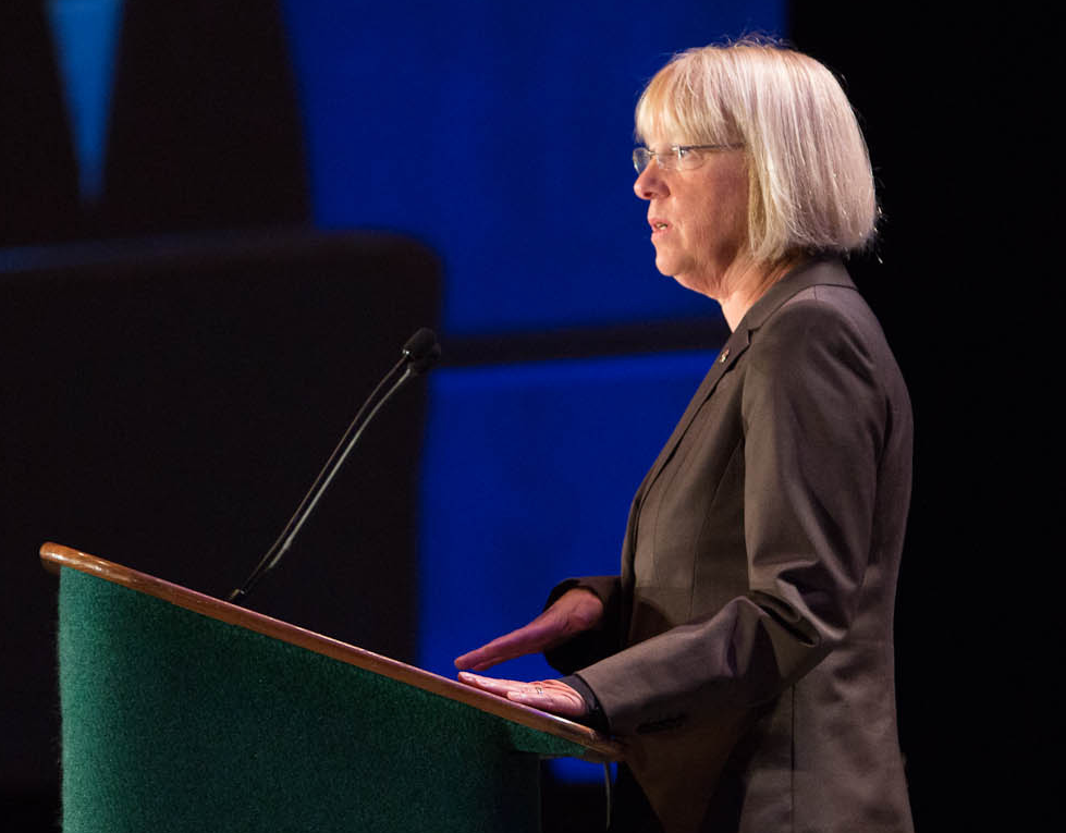 """"""" Senator Patty Murray """" (cropped) by  Shawn Murphy  is licensed under  CC BY 2.0."""