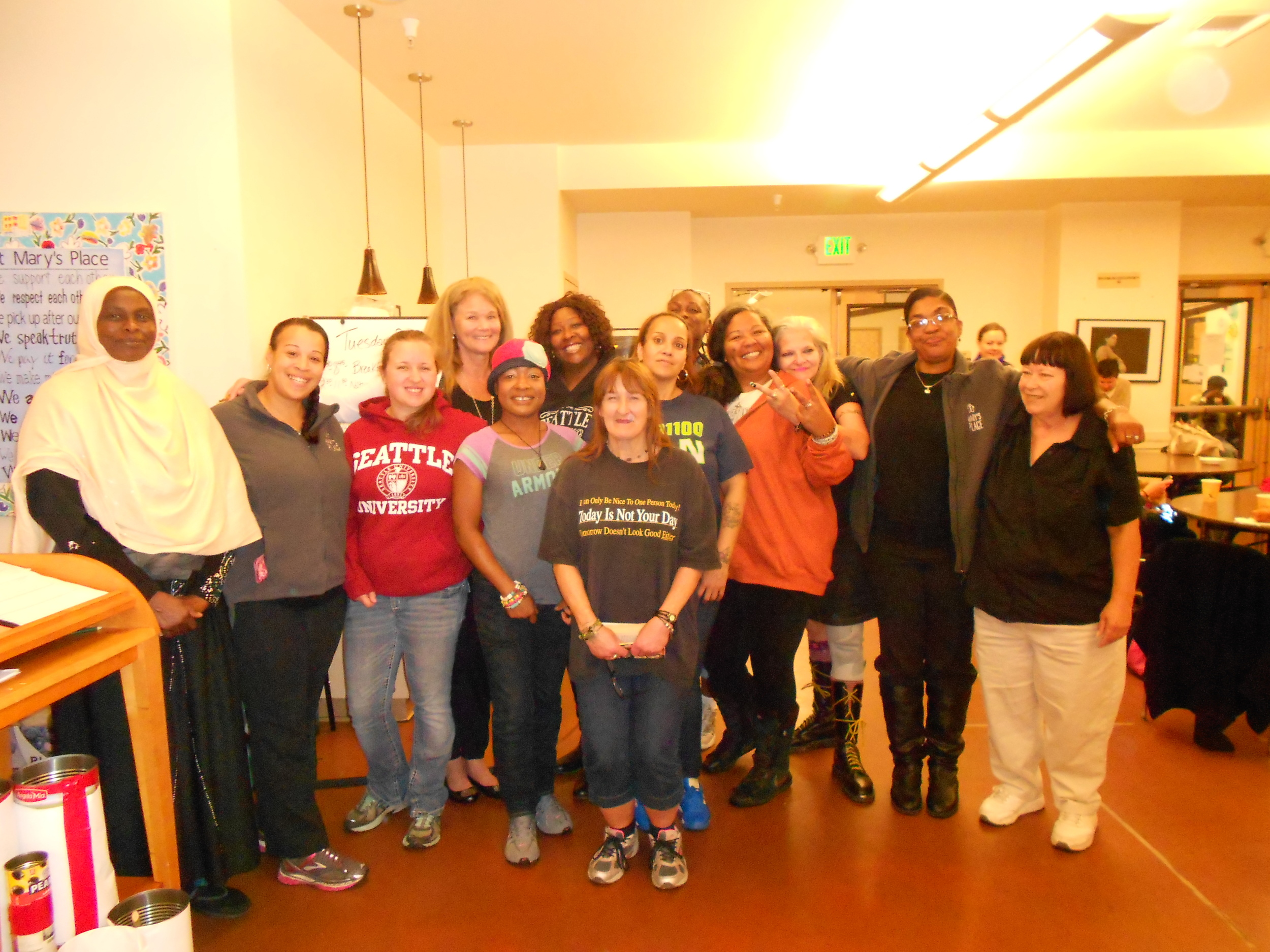 Some of the Mary's Place staff, interns, and women utilizing the day center.