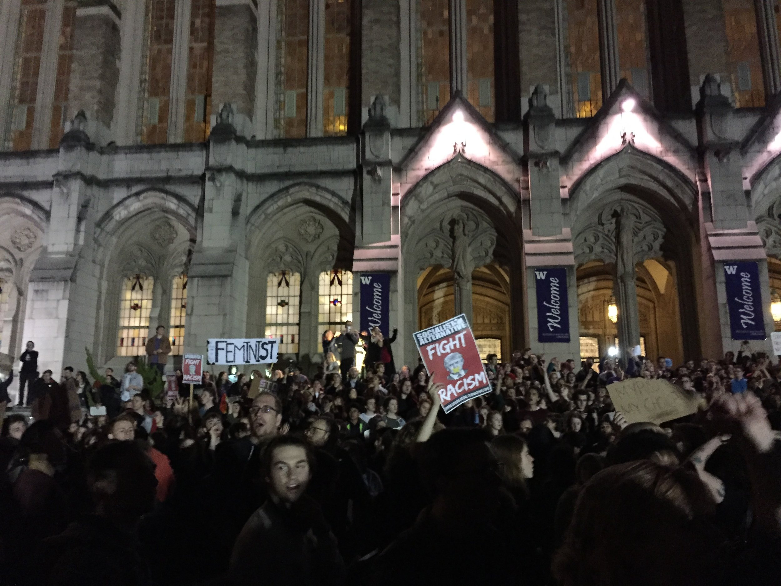 At the University of Washington, one stop on the Nov 9 march