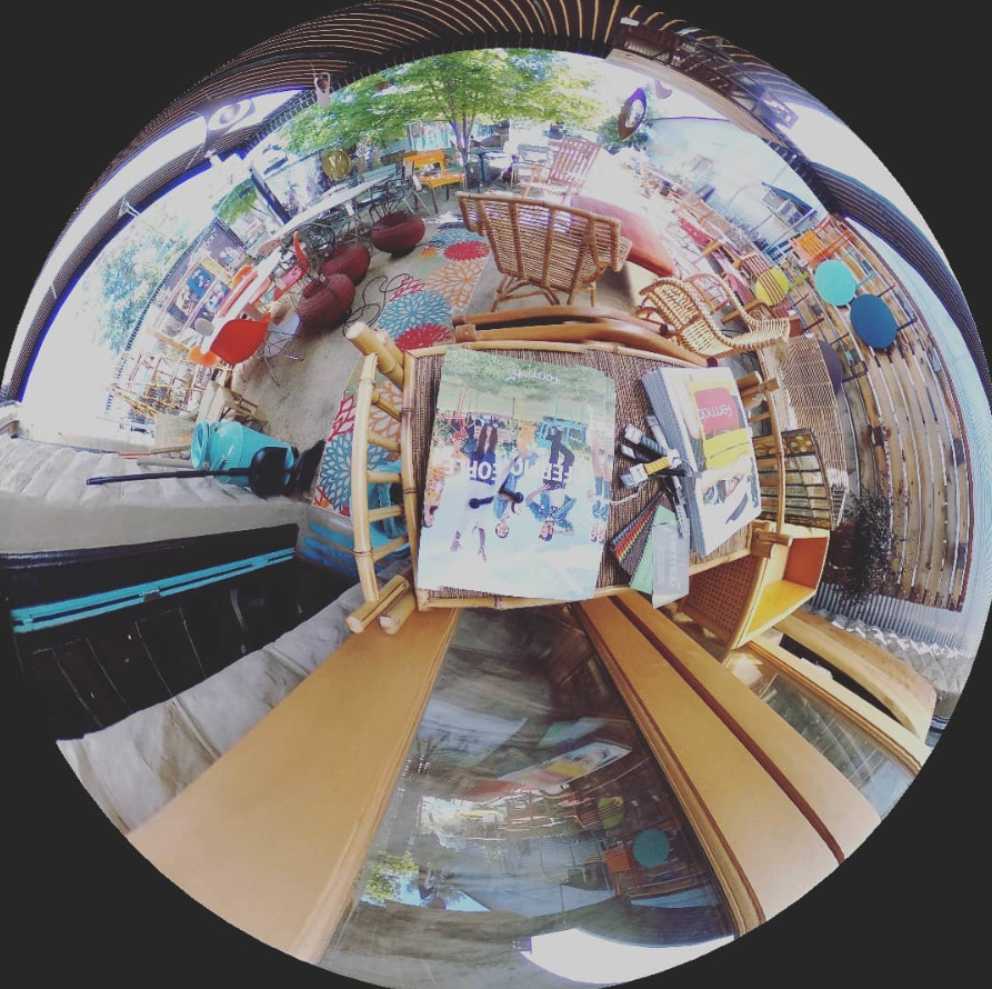 A fine example of how 360 photos can be used to create compelling flat graphics. The above 360 photo was used to create this art piece.