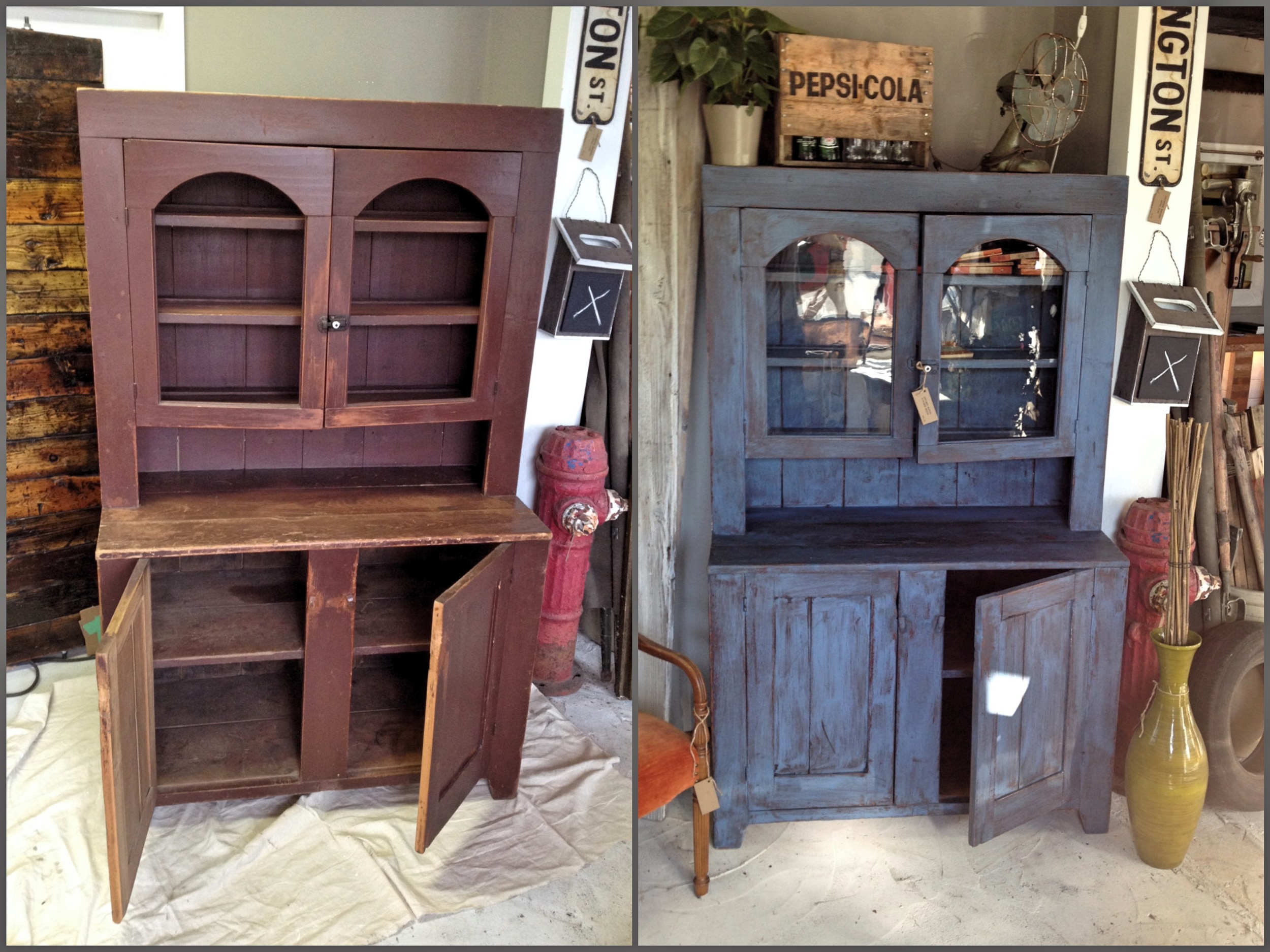 Out-dated hutch refinished in modernized tones.