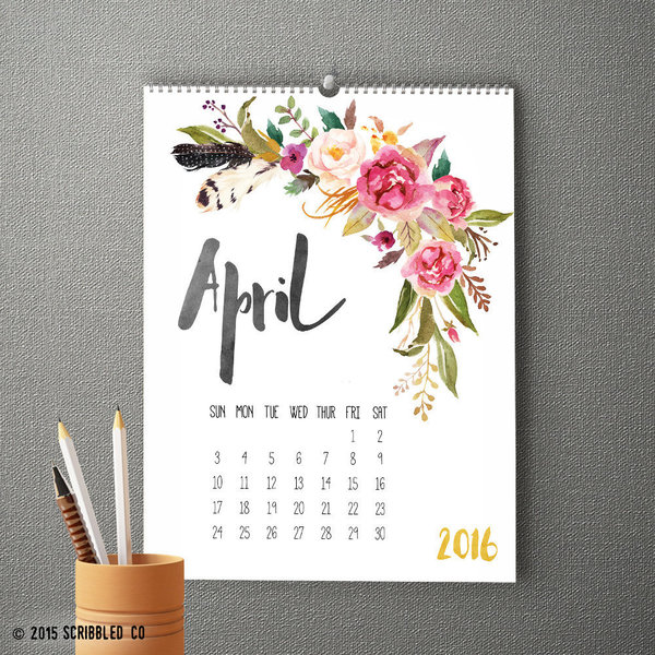 Watercolor Flower Wall Calendar