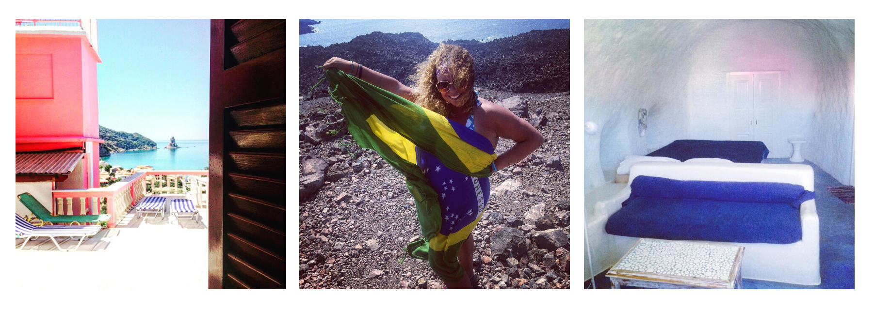 Jenna's stay at The Pink Palace in Corfu, Jenna atop a volcano in Santorini, Jenna's stay at Caveland in Santorini (photos by @jennalogic)
