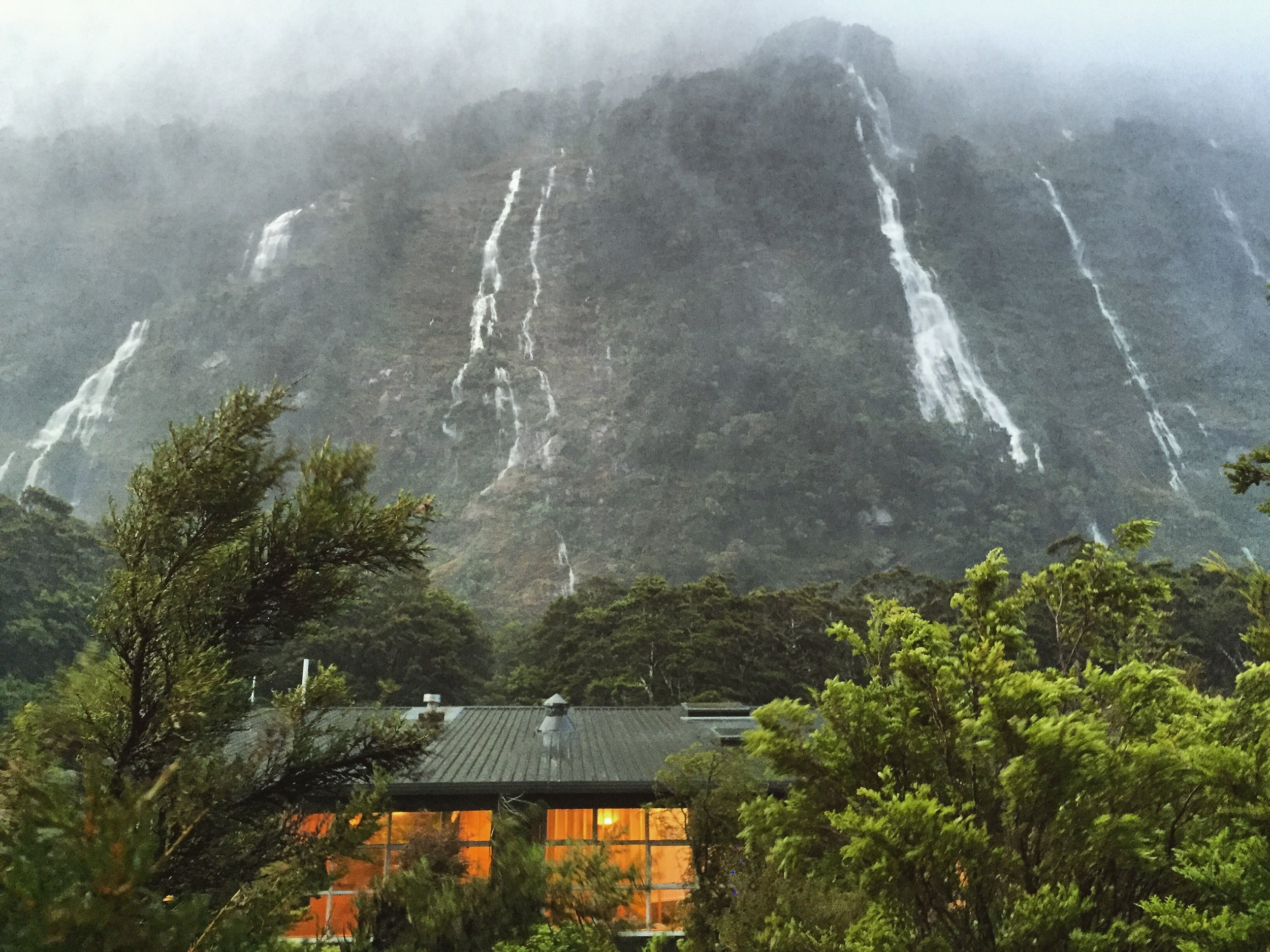 View from our room at the Milford Sound Lodge, waterfalls flowing freely !