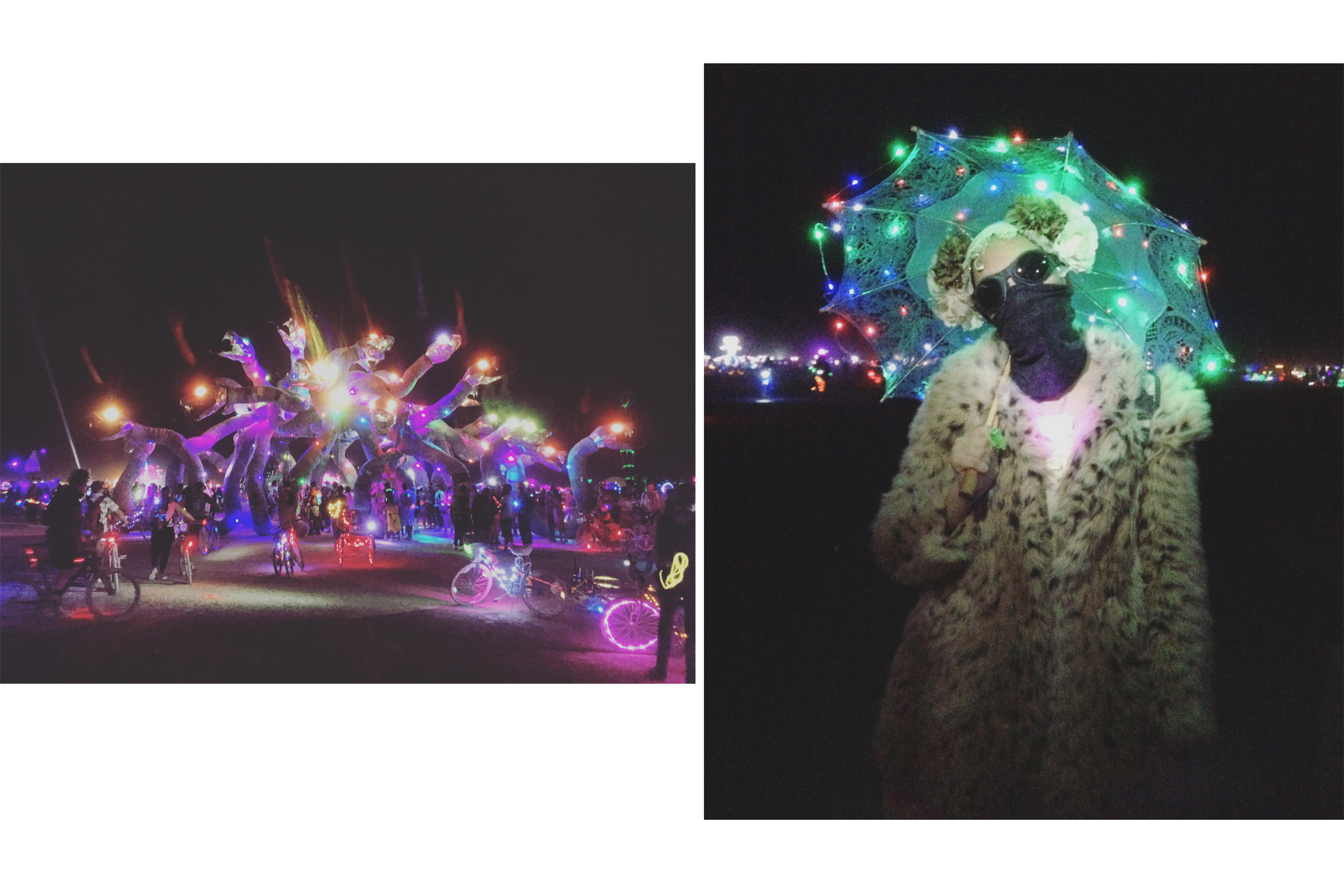 The twinkly LED lights of Burning Man at night (left), my nighttime furs and lights (right)
