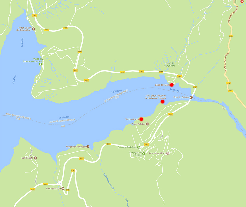 I've marked the location of 3 separate paddleboat / canoe rentals in red