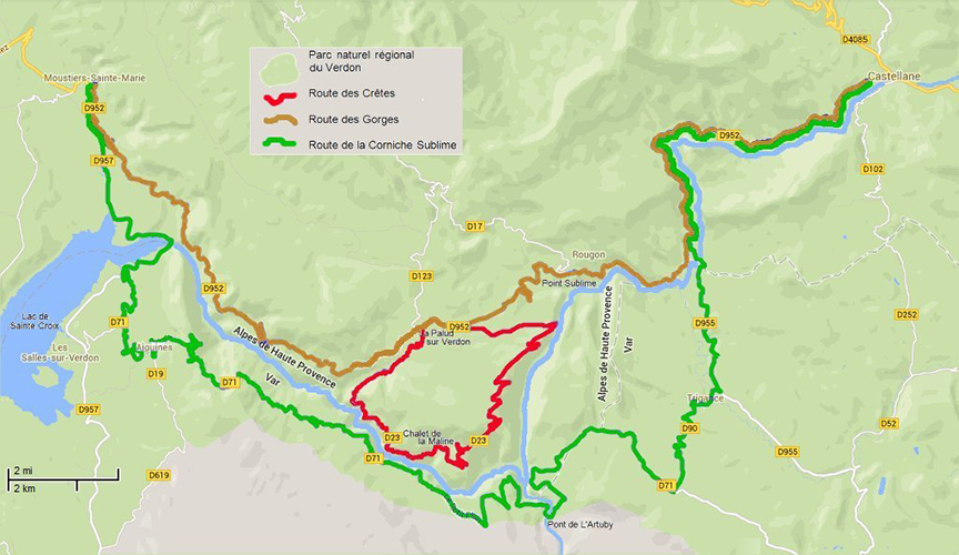 Route options to explore the Verdon Gorge, image taken from website Marvellous Provence