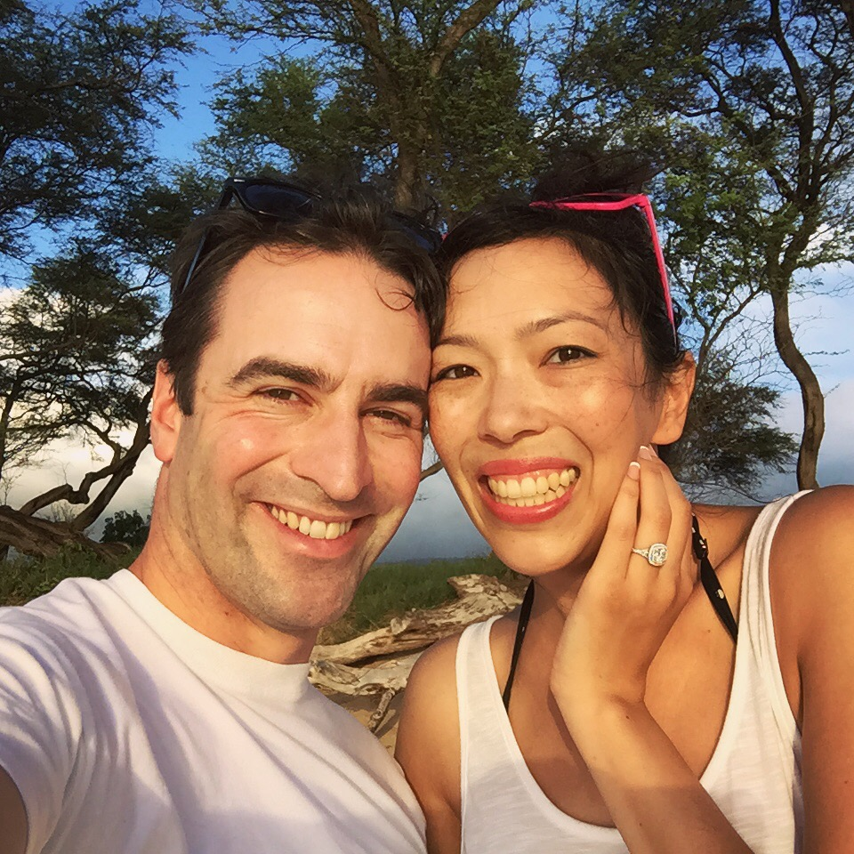 My husband and I getting engaged on the resort's quiet, beautiful beachfront back in 2015