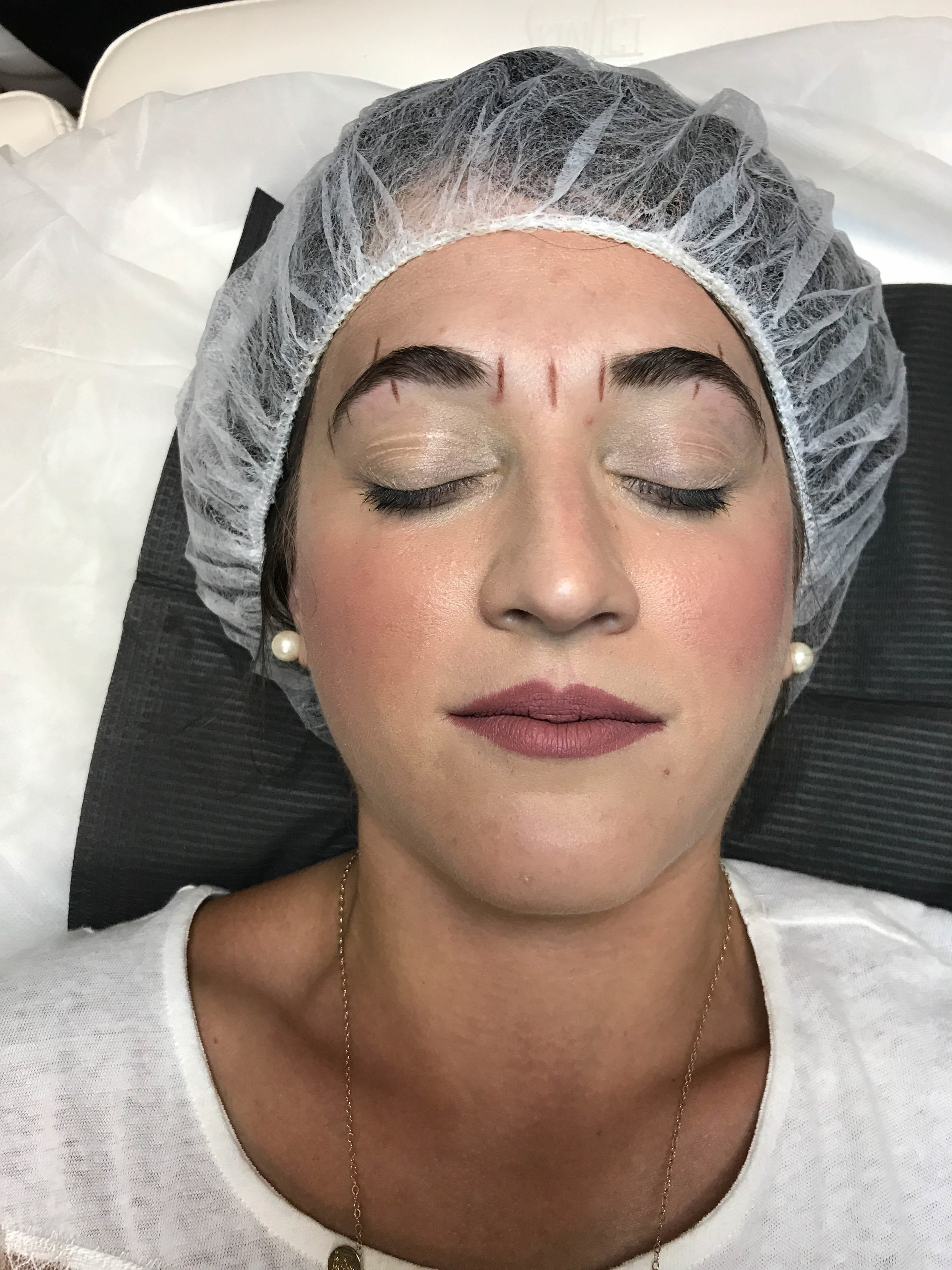 Step One - Measure the distance of the brows and where they should be.