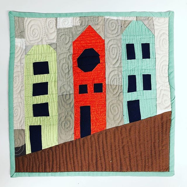 "My second submission for the @curatedquilts mini quilt challenge with the theme of ""House"" This is my version of The Painted Ladies and my first venture into creating my own foundation paper piecing pattern."