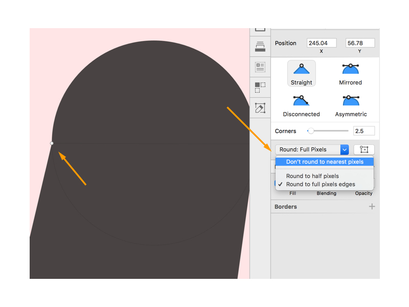 Turn off pixel rounding in Sketch to join straight to curved lines with more precision.
