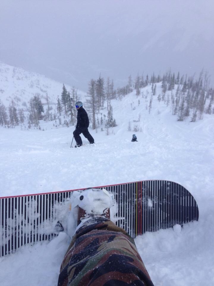 My friend Shawn catching a photo of me just off of the red chair at Castle. Looks like it was a good powder day for us.