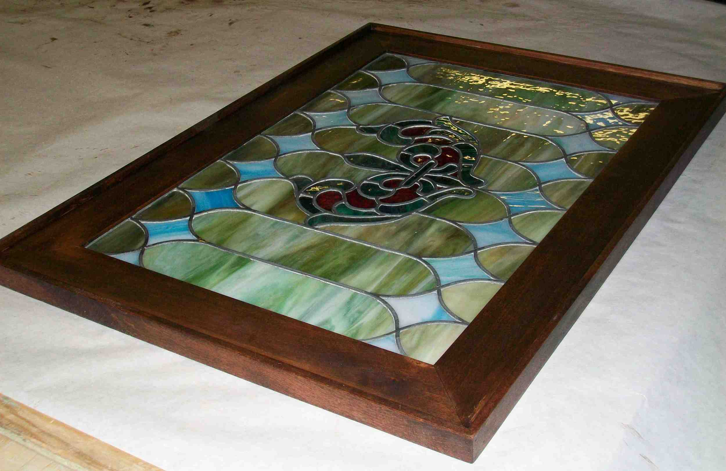 Stained Glass with Wood Frame