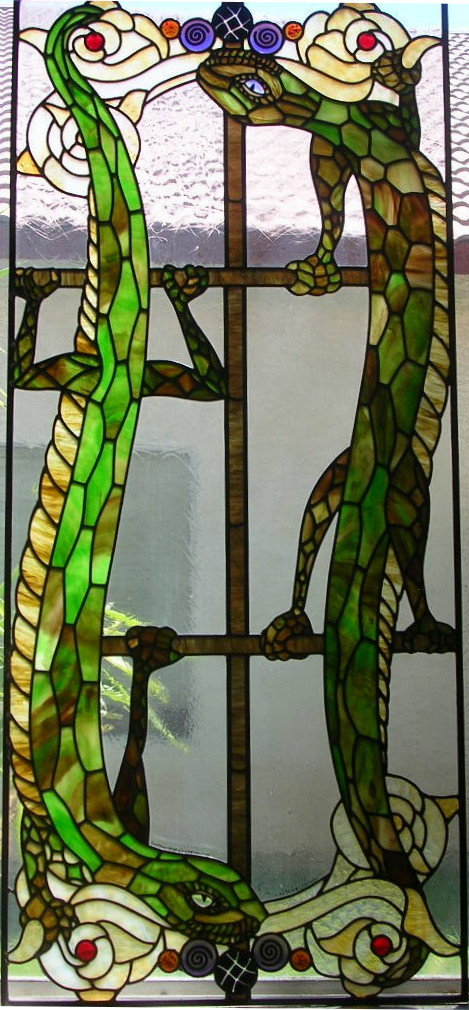 Large Stained Glass Window with Lizards