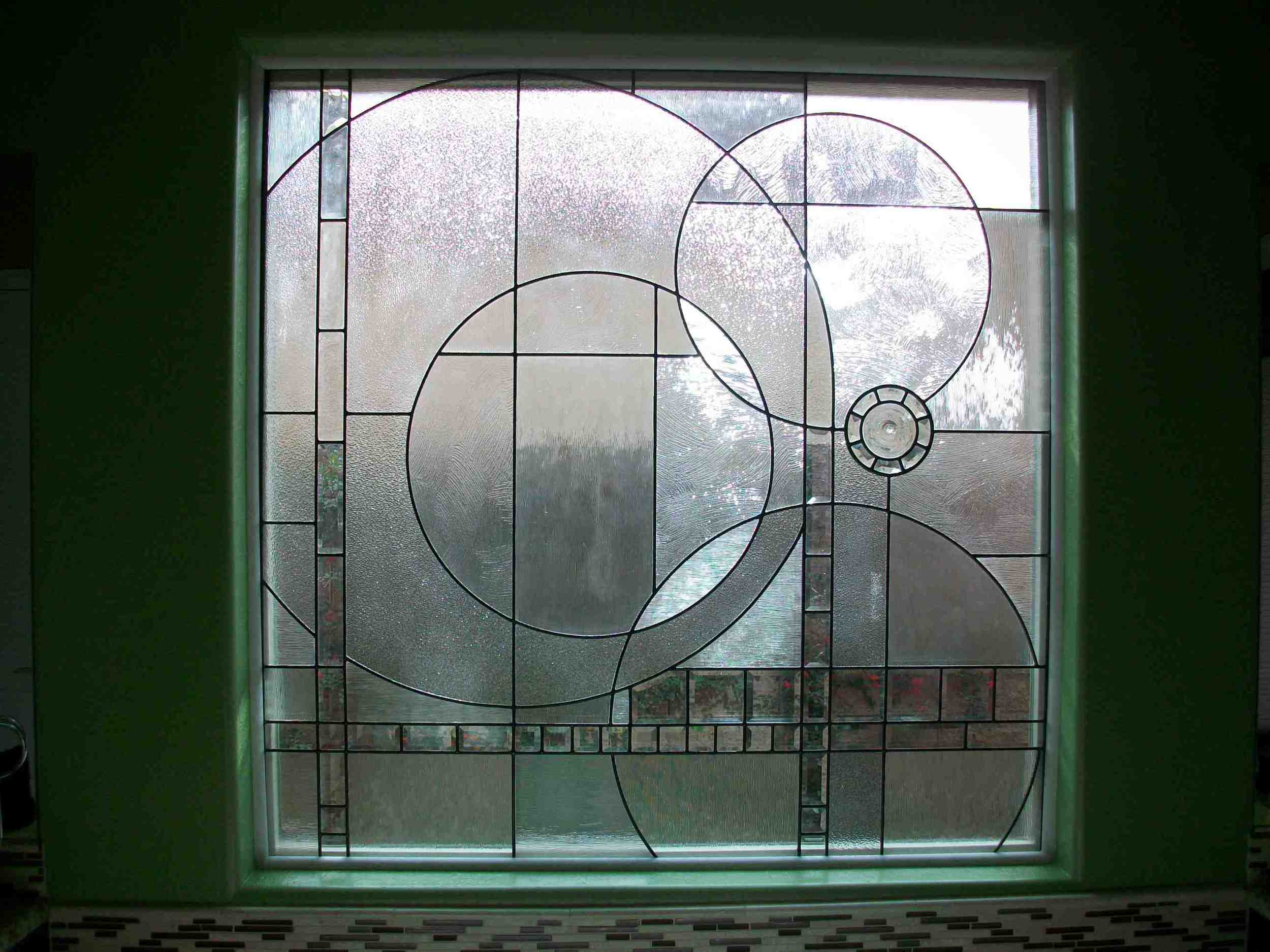 Custom Modern Stained Glass Window for Front Door