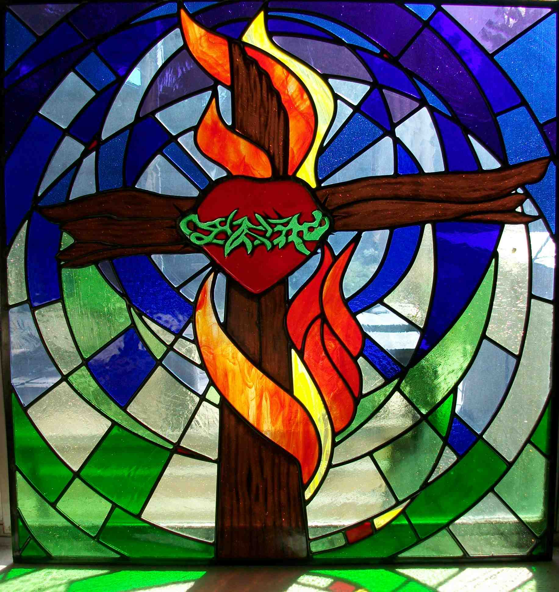 Custom Stained Glass, Cross, Heart, Crown of Thorns