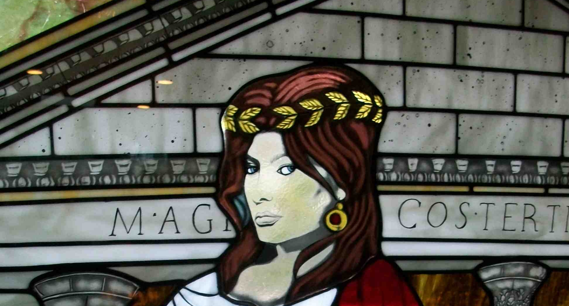 La Donna Stained Glass with Painted Face
