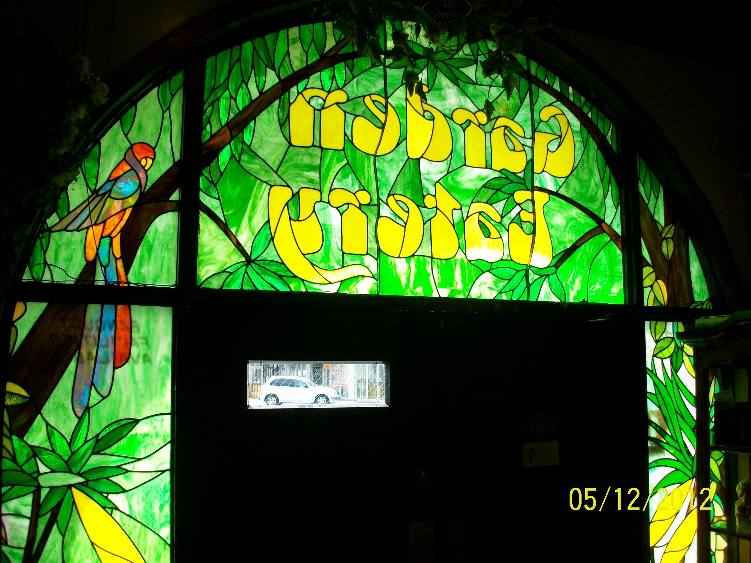 Custom Stained Glass Window, Rainforest with Parrot