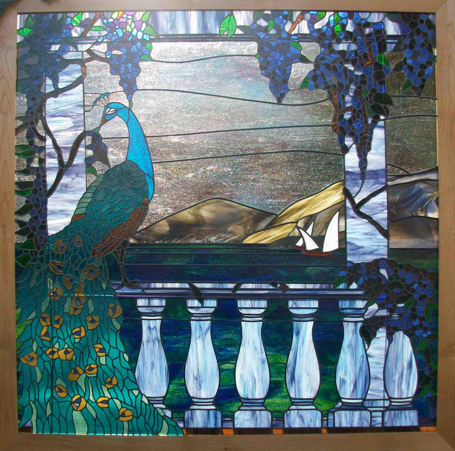 Stained Glass Window, Tiffany Style, with Peacock, Ocean, Sailboats