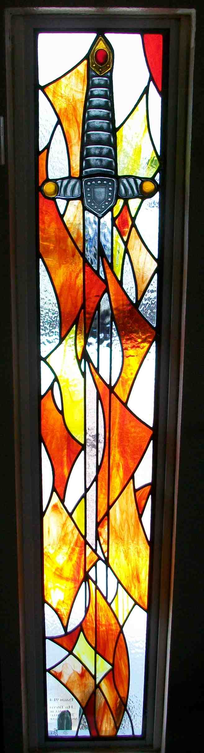 Custom Stained Glass Window, Traditional Design, with Sword