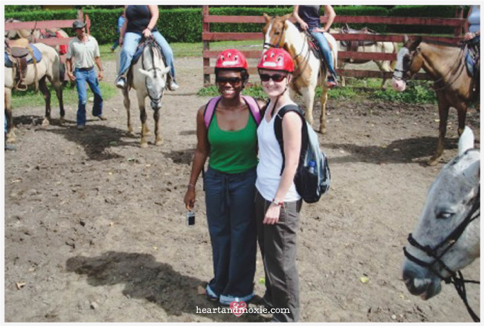 Getting ready to go on our first horseback ride!