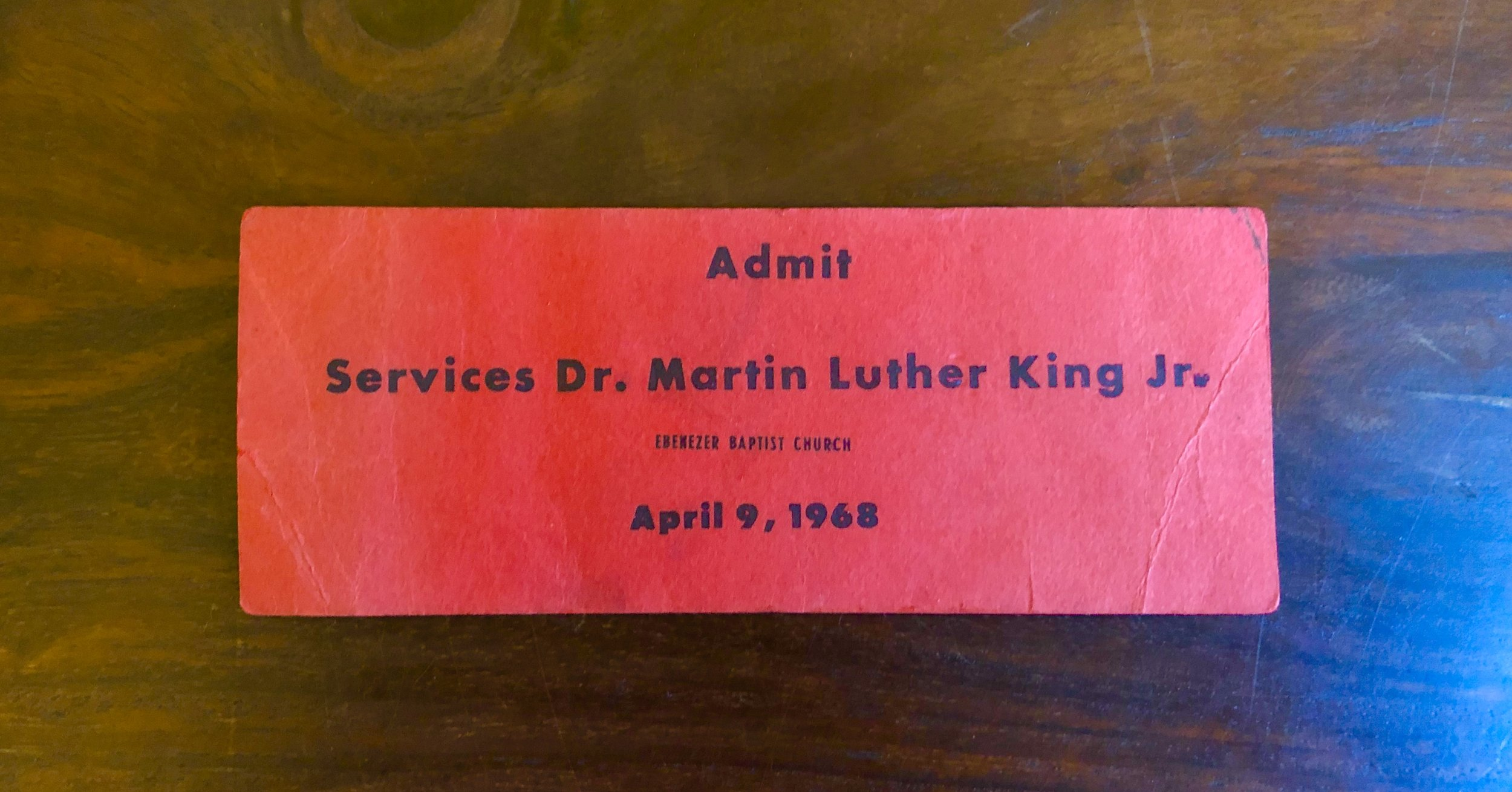Admit to Funeral Services for Dr Martin Luther King Jr