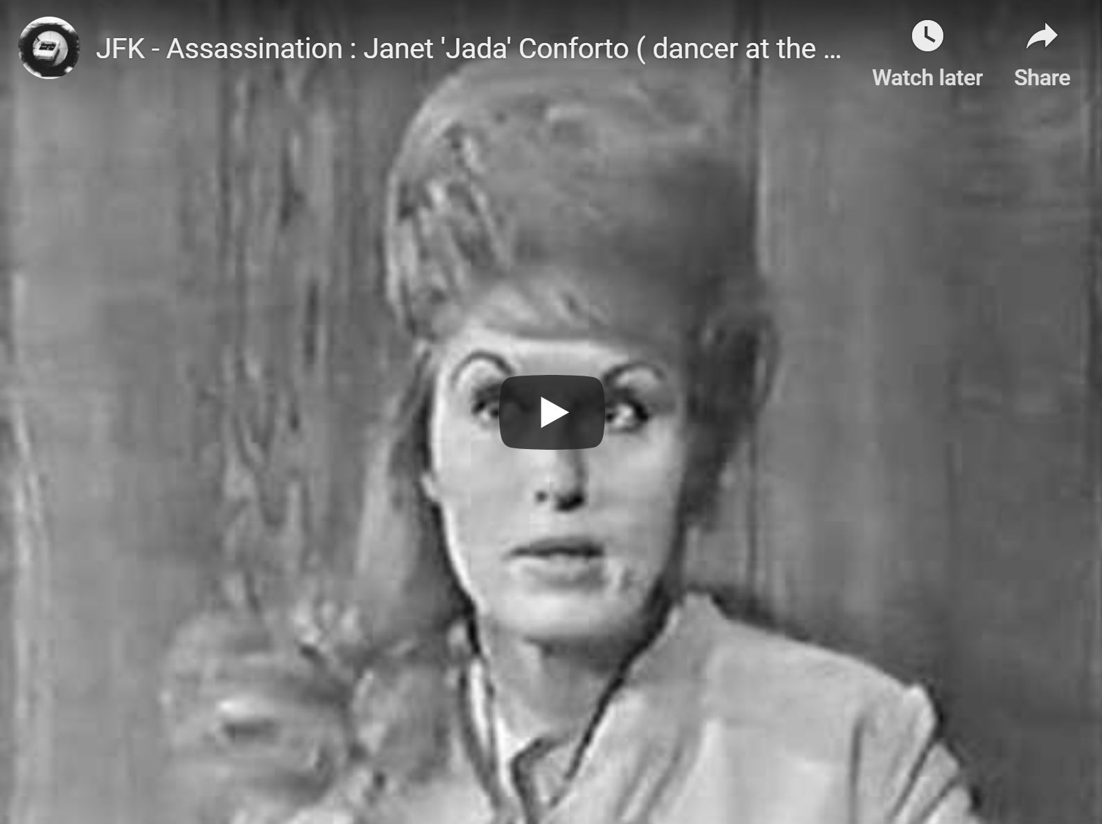 """Here he is interviewing Janet Jada Conforto, a dancer with a spotty memory, who worked at Jack Ruby's Carousel Club. My father exudes old-fashioned newsman comportment and speech; the swivel chairs are interesting. I love his sign off: """"The reasons for [the assassination], those are hard to pin down, as the portrait of Jack Ruby emerges, piece by piece."""""""