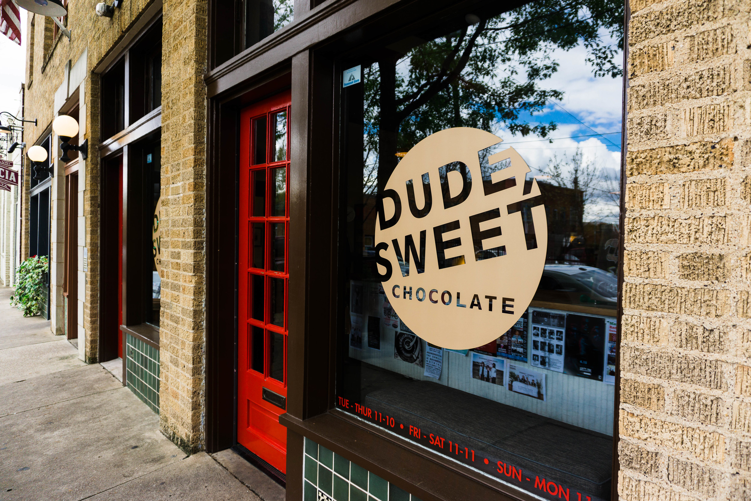 Dude, Sweet Chocolate shop in the Bishop Arts District. The owner was pretty excited to show us his photo with Wayne Coyne when we said we were from OKC.