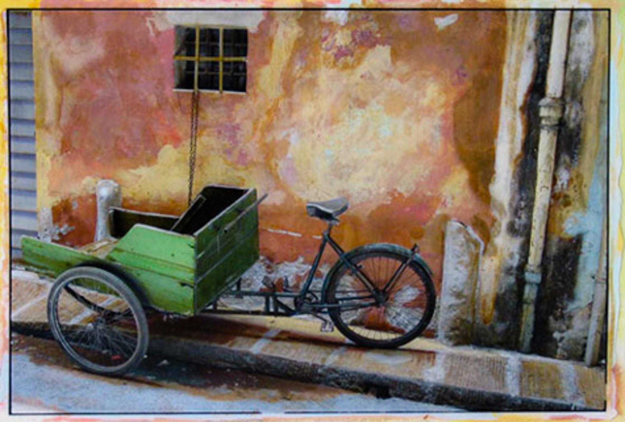 Green Bicycle Cart