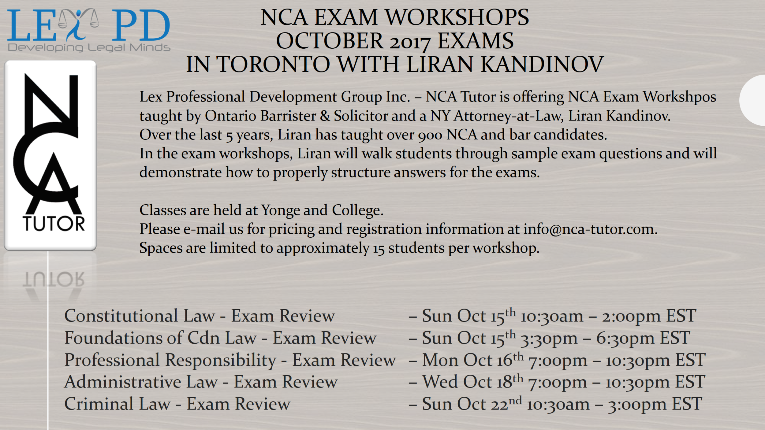 Exam Workshops for October 2017 NCA Exams