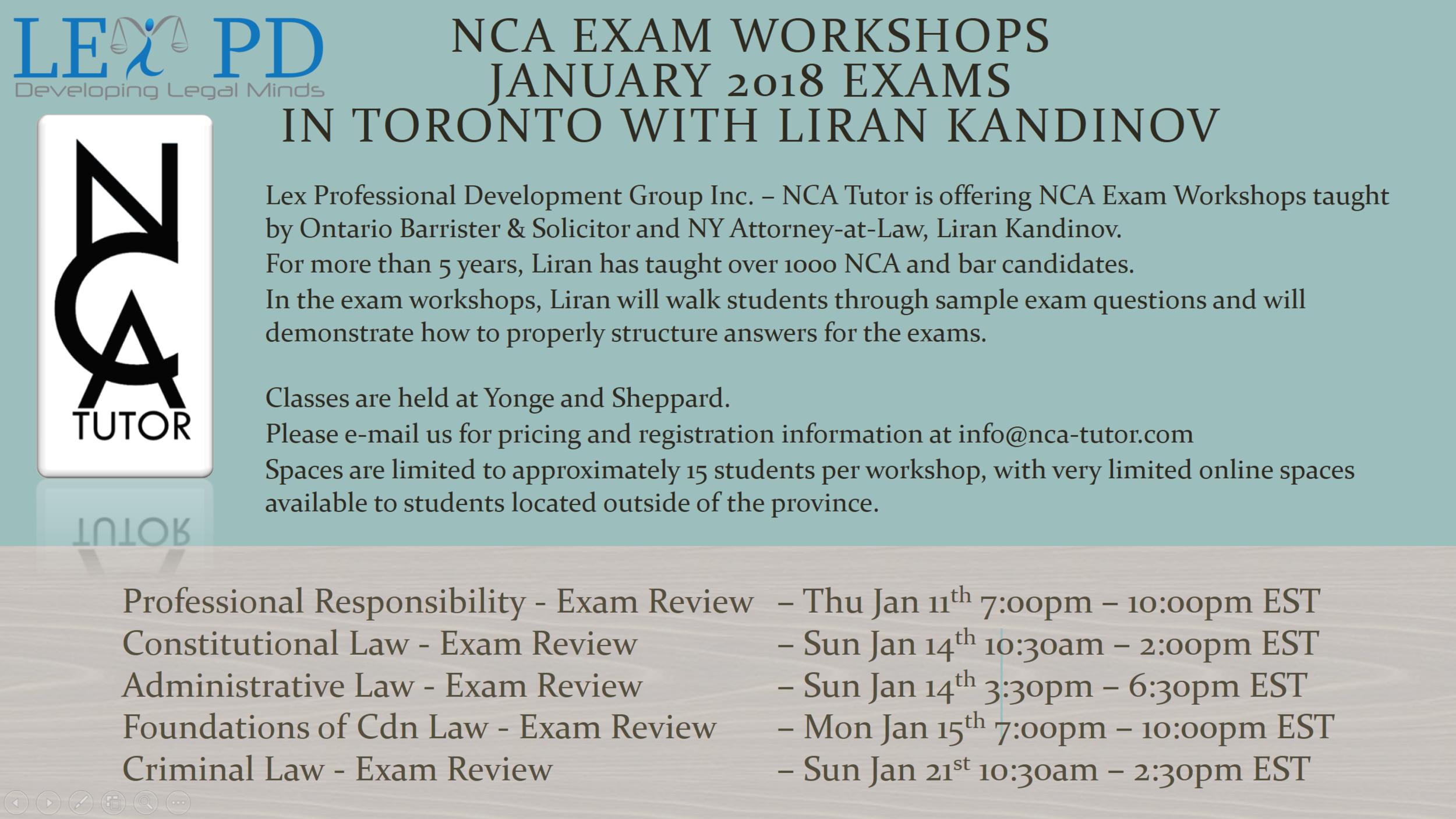 Exam Workshops taught by Liran Kandinov - January 2018 NCA Exams