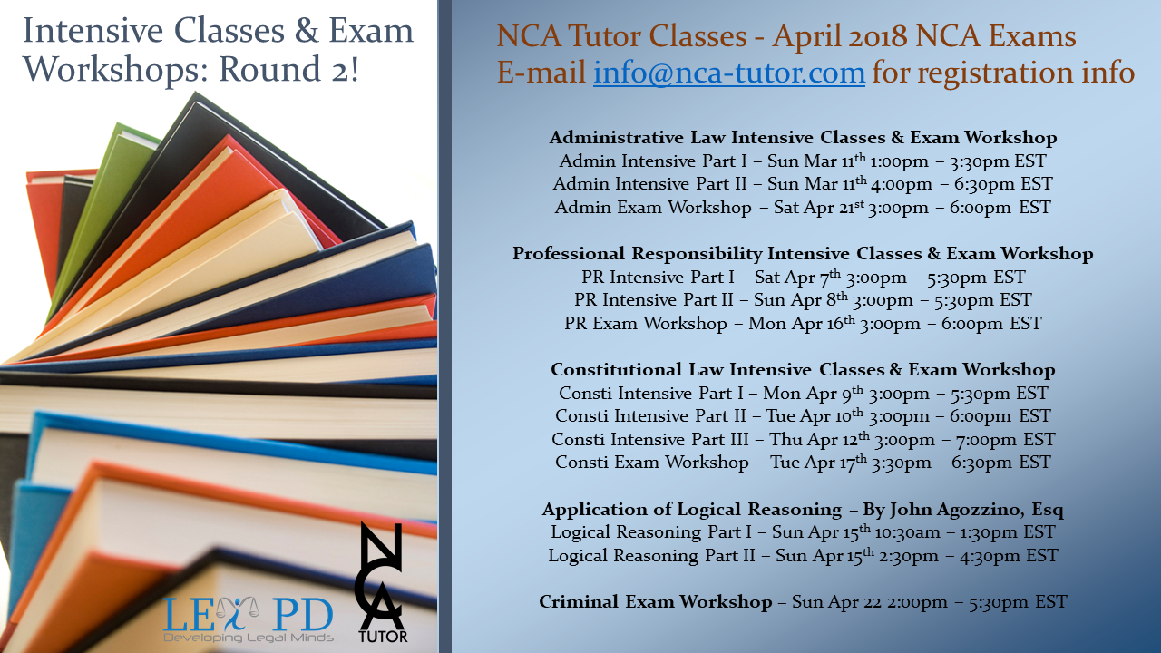 Intensive Classes and Exam Workshops - Round 2