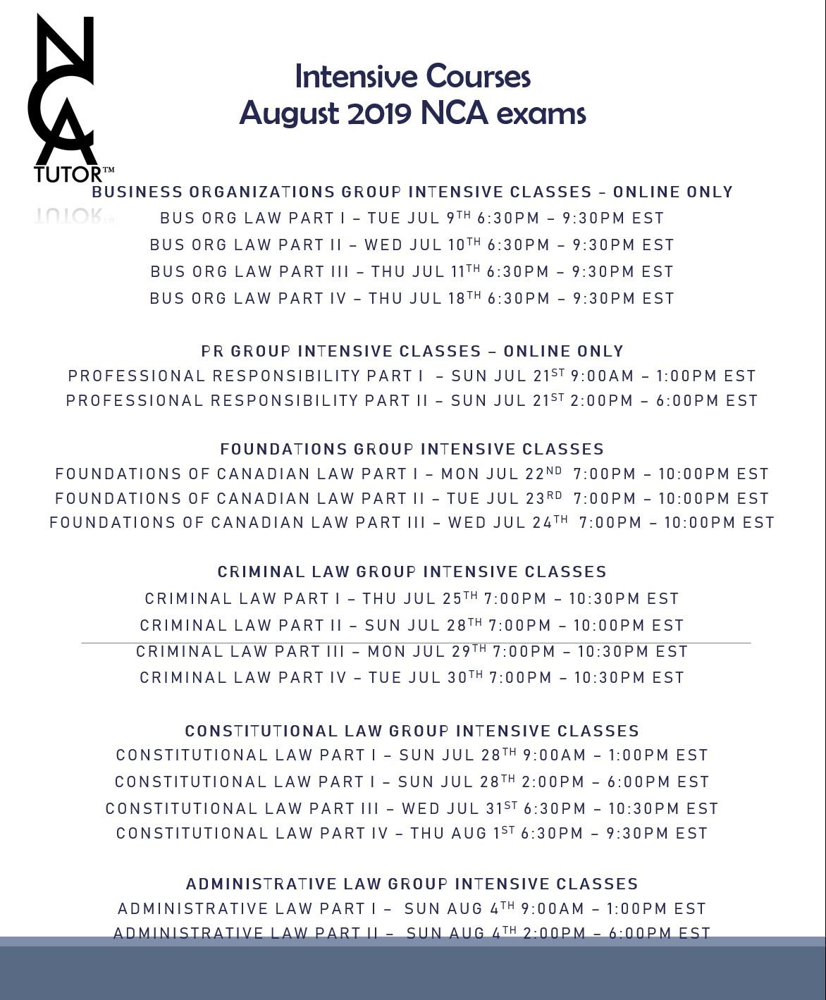 August 2019 NCA Exams - Course Schedule - NCA Tutor™