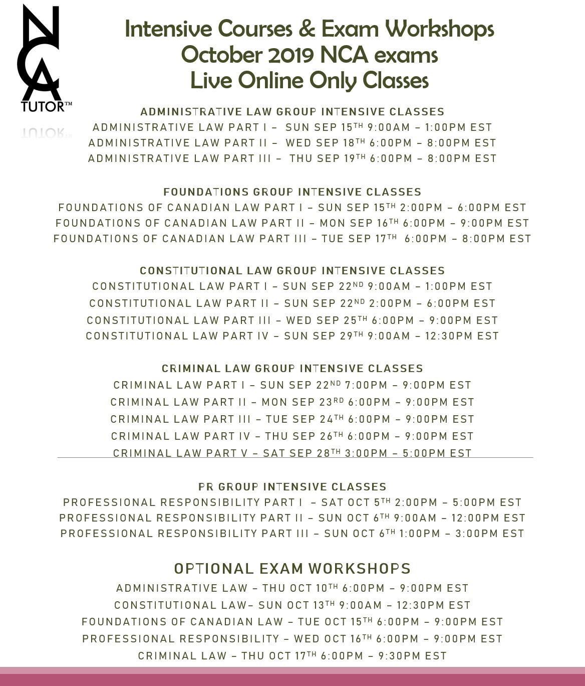 October 2019 NCA Exams - Course Schedule - NCA Tutor™
