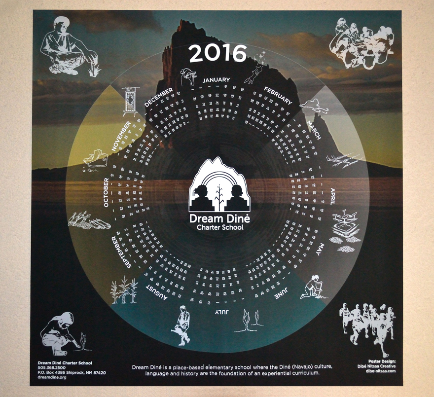 Calendar Poster created for Dream Diné Charter School out of Shiprock, NM.