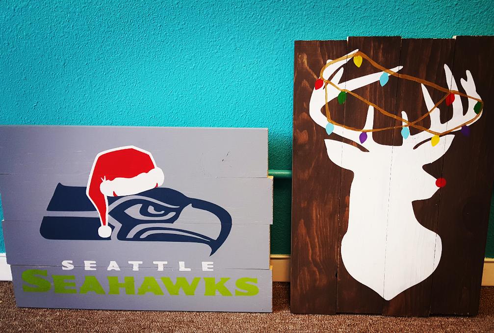 Santa Hat Seahawk or Deer Head with Lights
