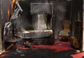 Fire-damaged drywall .