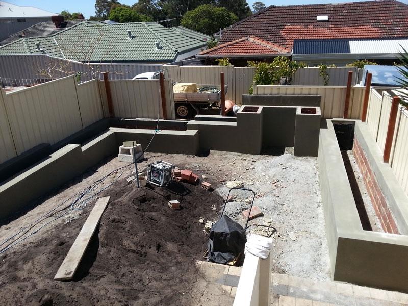 Garden walls sand finish.