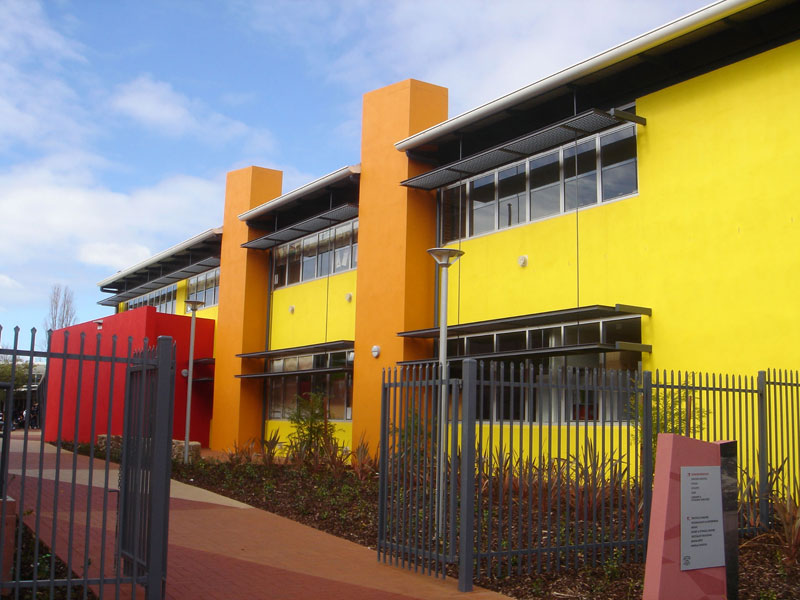 Painted sand finish school