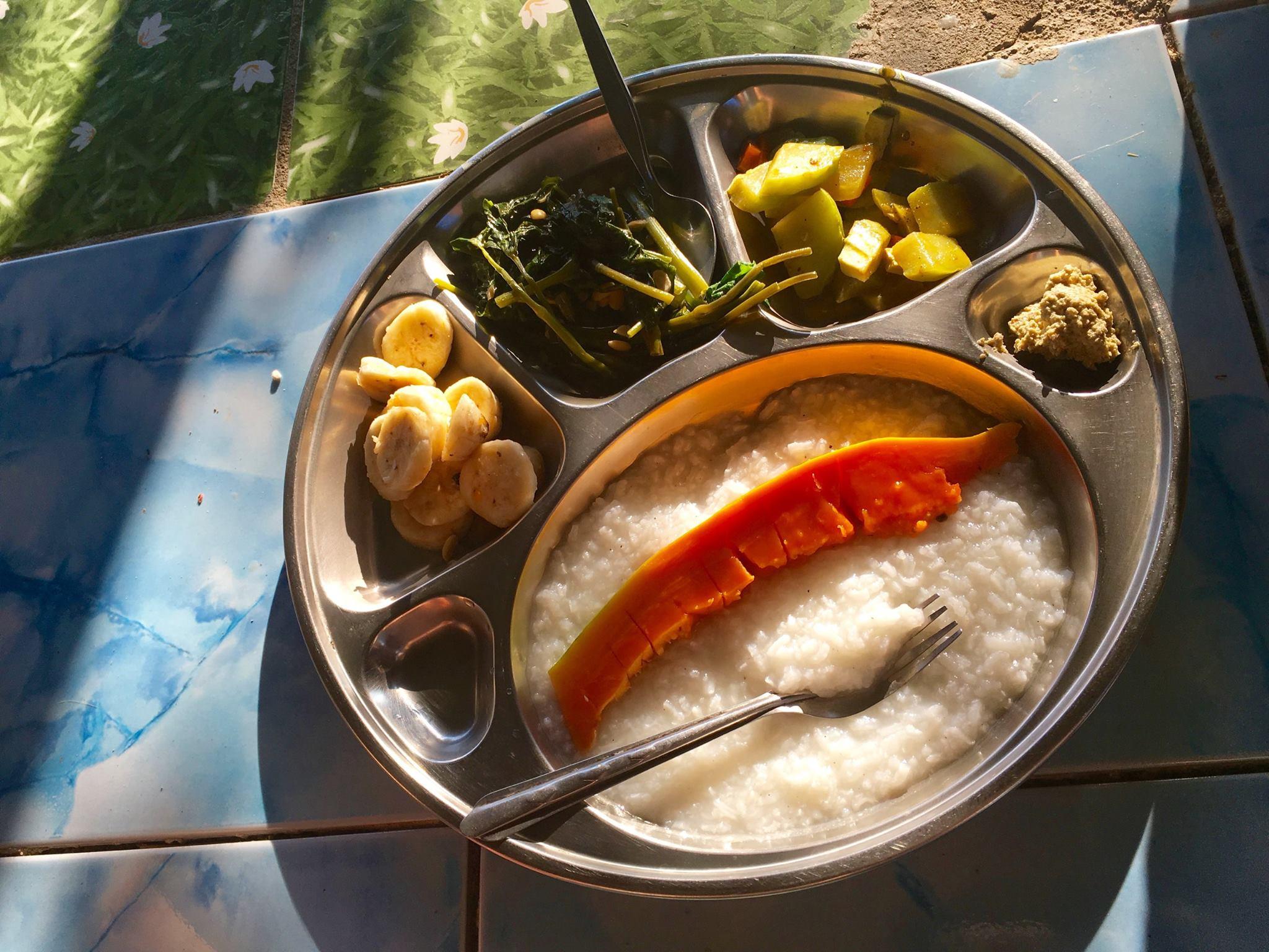 Fresh breakfast from the farm eaten in silence