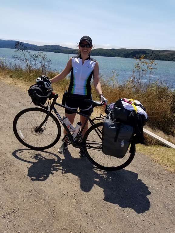 Here I am with all of my gear. I ended up riding to Missoula, Montana where the headquarters for Adventure Cycling Association is located. We weighed my bike with everything on it and it came out to about 86 pounds.