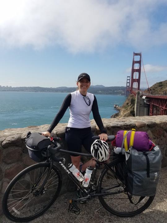 Starting the journey biking over the Golden Gate Bridge in San Francisco.